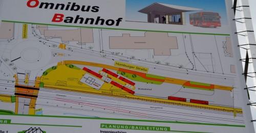 Plan des neuen Busbahnhofs