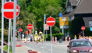 Bauarbeiten im Kreisverkehr Marienheide-Rodt