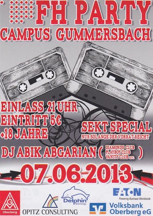 FH Party am Campus Gummersbach am 7.6.2013 ab 21 Uhr.