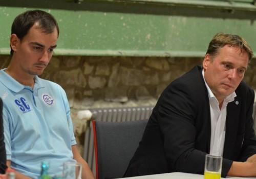 Trainer Kurtagic und Manager Flatten nach dem Spiel / Bilder : Uwe Schlegelmilch
