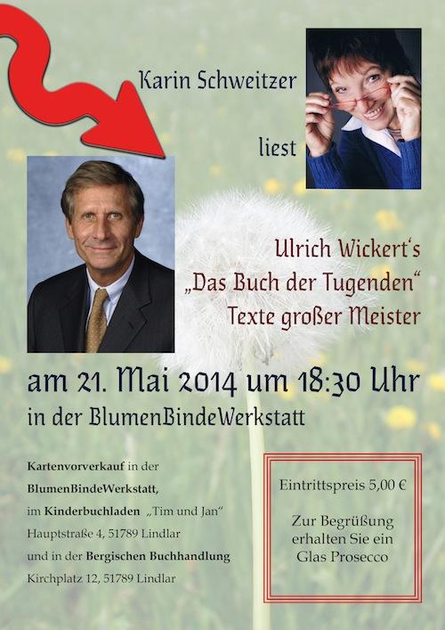 Photo of Karin Schweitzer liest ausgewählte Texte aus dem Buch der Tugenden von Ulrich Wickert