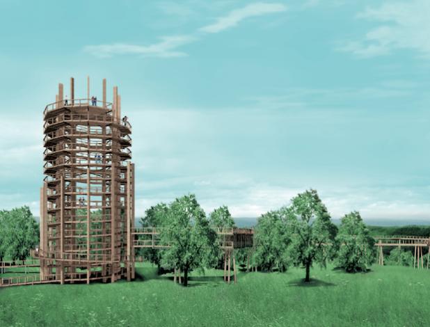 Die Grafik zeigt den 40 Meter hohen Aussichtsturm, der zur Zeit aufgebaut wird - Quelle: ReComPR GmbH