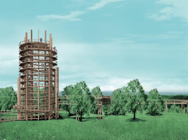 Die Grafik zeigt den 40 Meter hohen Aussichtsturm, der zur Zeit aufgebaut wird (Quelle: ReComPR GmbH).