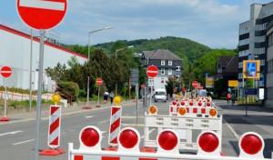 Baustelle in der Andienungsstraße in Gummersbach