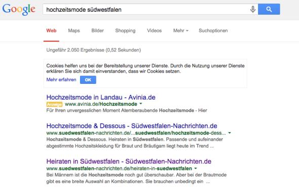 Top1 bei Google, wenn nach Hochzeitsmode und Südwestfalen gesucht wird. Ebenso bei vielen anderen Keywords! ARKM wirkt.