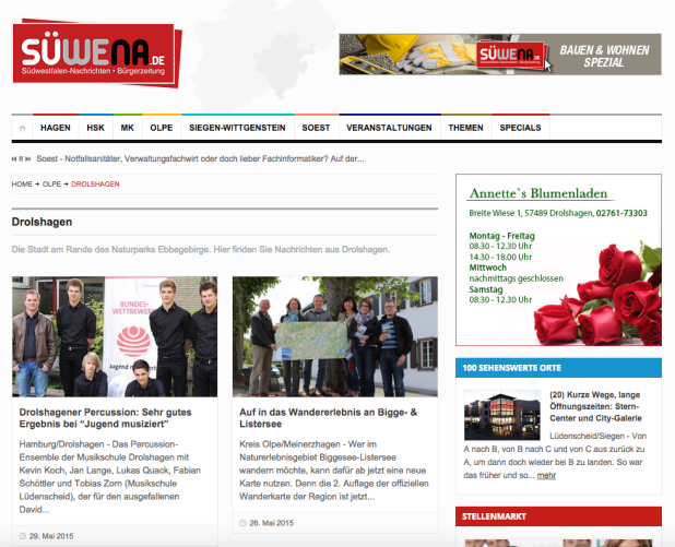 Nur im eigenen Ort! Das war die Vorgabe von Annettes Blumenladen aus Drolshagen. Kein Problem für die Südwestfalen Nachrichten. Entweder Orte und/oder Themen auswählen!