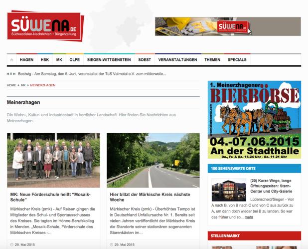 """Eventwerbung findet immer mehr im Internet statt. Kein Redaktionsschluss, sodass auch """"Last Minute"""" die Zielgruppe erreicht werden kann. Auch die 1. Bierbörse in Meinerzhagen nutzt die Südwestfalen Nachrichten als Sprachrohr!"""