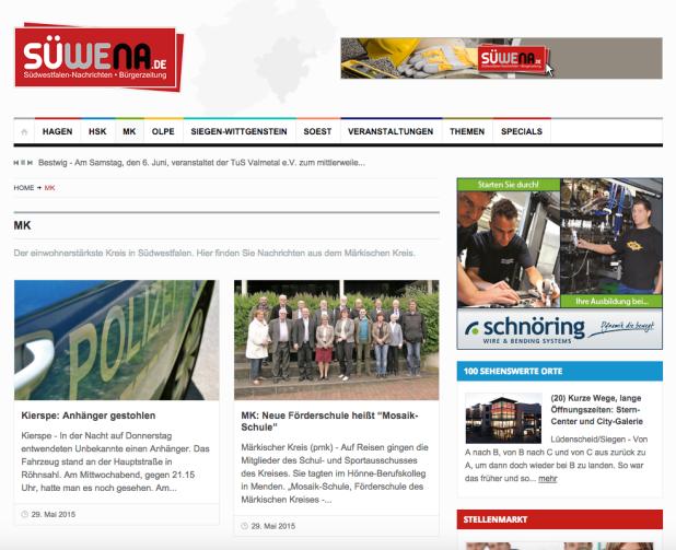 Der Federnhersteller Schnöring aus Schalksmühle sucht auf den Südwestfalen-Nachrichten nach Fachkräften …