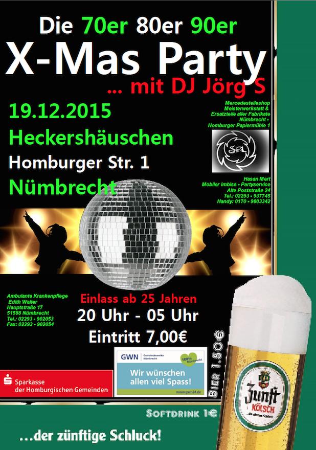 Bild von In Nümbrecht steigt die ultimative  70er 80er 90er X-Mas Party