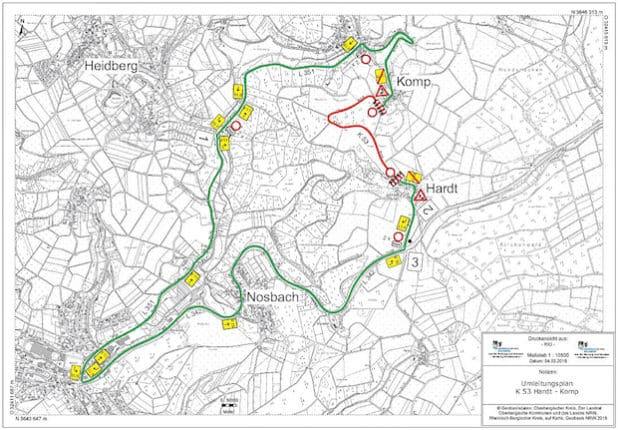 Lageplan der K 53 zwischen den Ortschaften Hardt und Komp mit Umleitungsstrecken (Foto: OBK)