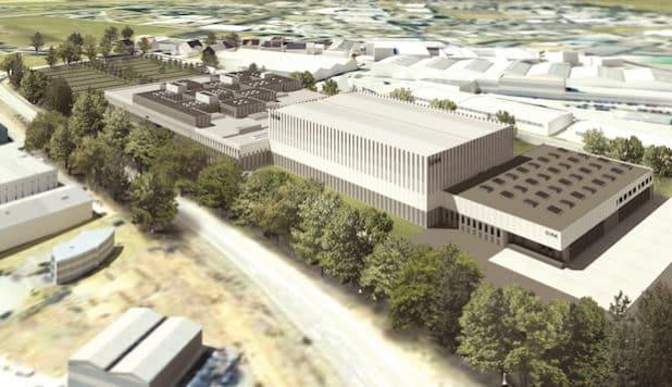 Hochmoderner Industriebau: Auf 30.000 Quadratmetern wird der Gira Neubau ab 2018 Produktion, Logistik und Büros beherbergen. (Foto: Sauerbruch Hutton Gesellschaft von Architekten mbH)