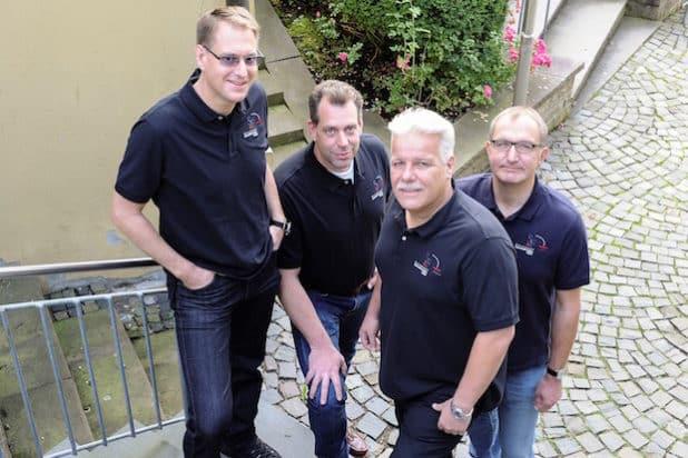 Die Geschäftsführer der S&F Personal Dienstleisungen von links nach rechts: Dominik Bangert, Tobias Wiesener, Karl Schindhelm und Raimund Muschinski (Foto: Marko Morelli)