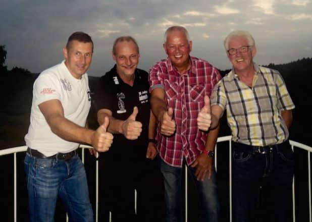 Von links nach recht:  Präsident Leander Zielenbach, Jungfrau Knabberdonna (Marco Dammeyer), Prinz Pim I. (Pim Westerhout), Bauer Norbert (Norbert Marx) , Quelle: Sarah Schmidt