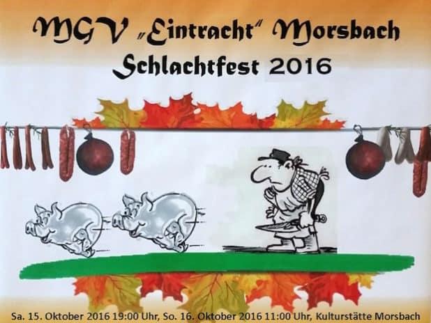Plakat Schlachtfest - Quelle: MGV Eintracht Morsbach e.V.