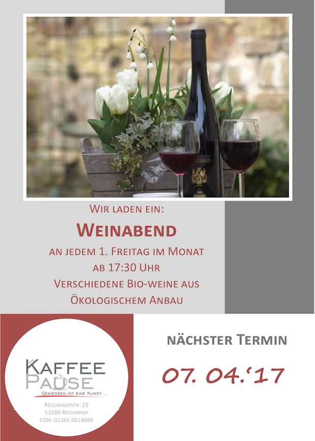 Photo of Eckenhagen: Weinabend in der KaffeePause