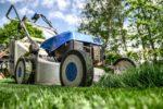 Zur Gartenarbeit gehört auch das Rasen mähen.